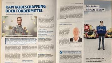 Andreas Franken Interview in DIE WIRTSCHAFT zum Thema Fördermittel klein