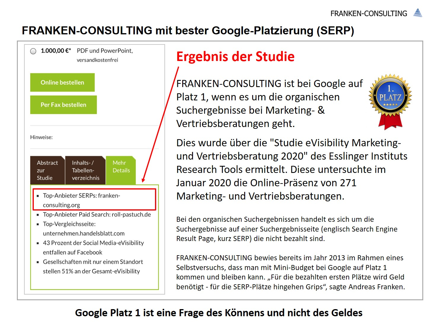 FRANKEN-CONSULTING Unternehmensberatung Strategie, Marketing, Vertrieb bei Google auf Platz 1