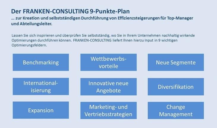 Franken-Consulting, Unternehmensberatung, Gratis 9 Punkte Plan, Gratis-Broschüre